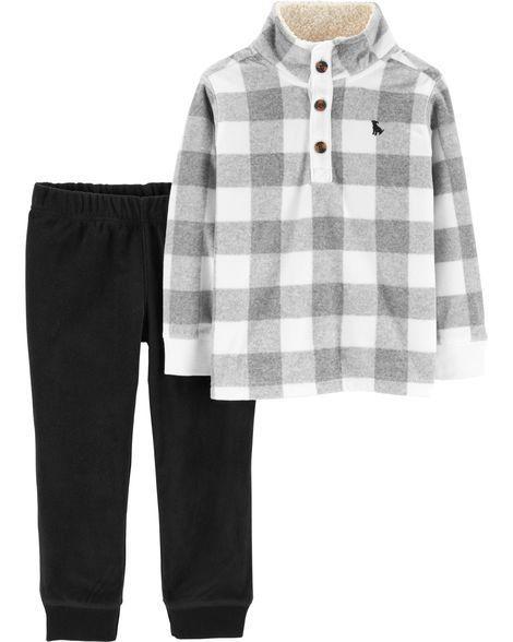 Conjunto Carter's Fleece Xadrez Cinza e Branco