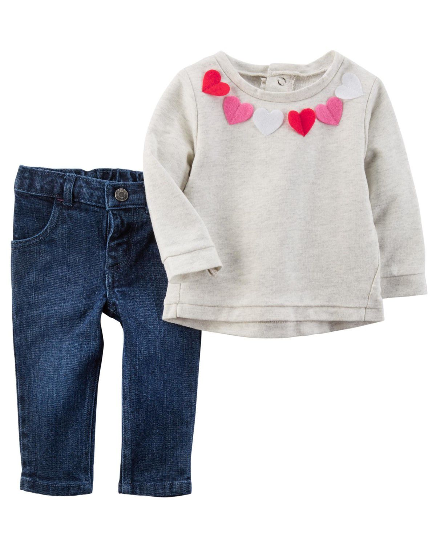 Conjunto Carter's Jeans Blusa Corações