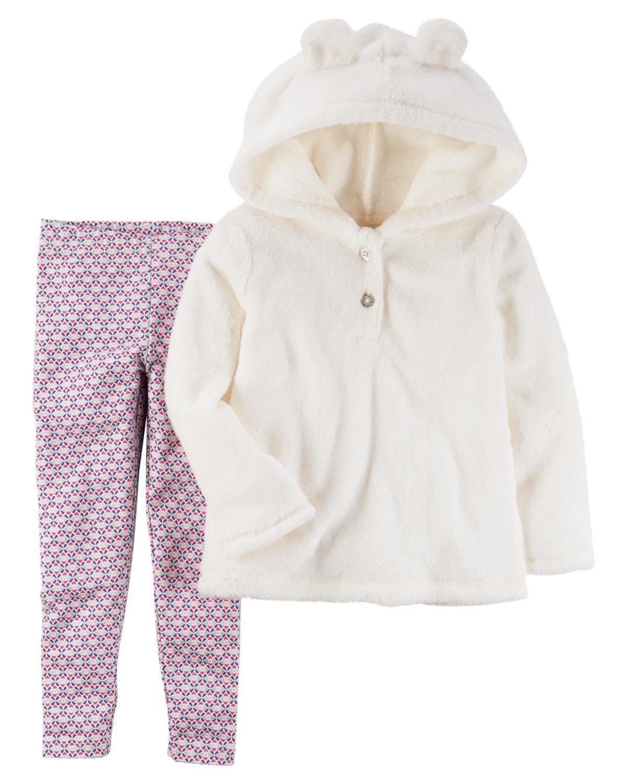 Conjunto Carter's Fleece Branco e Legging