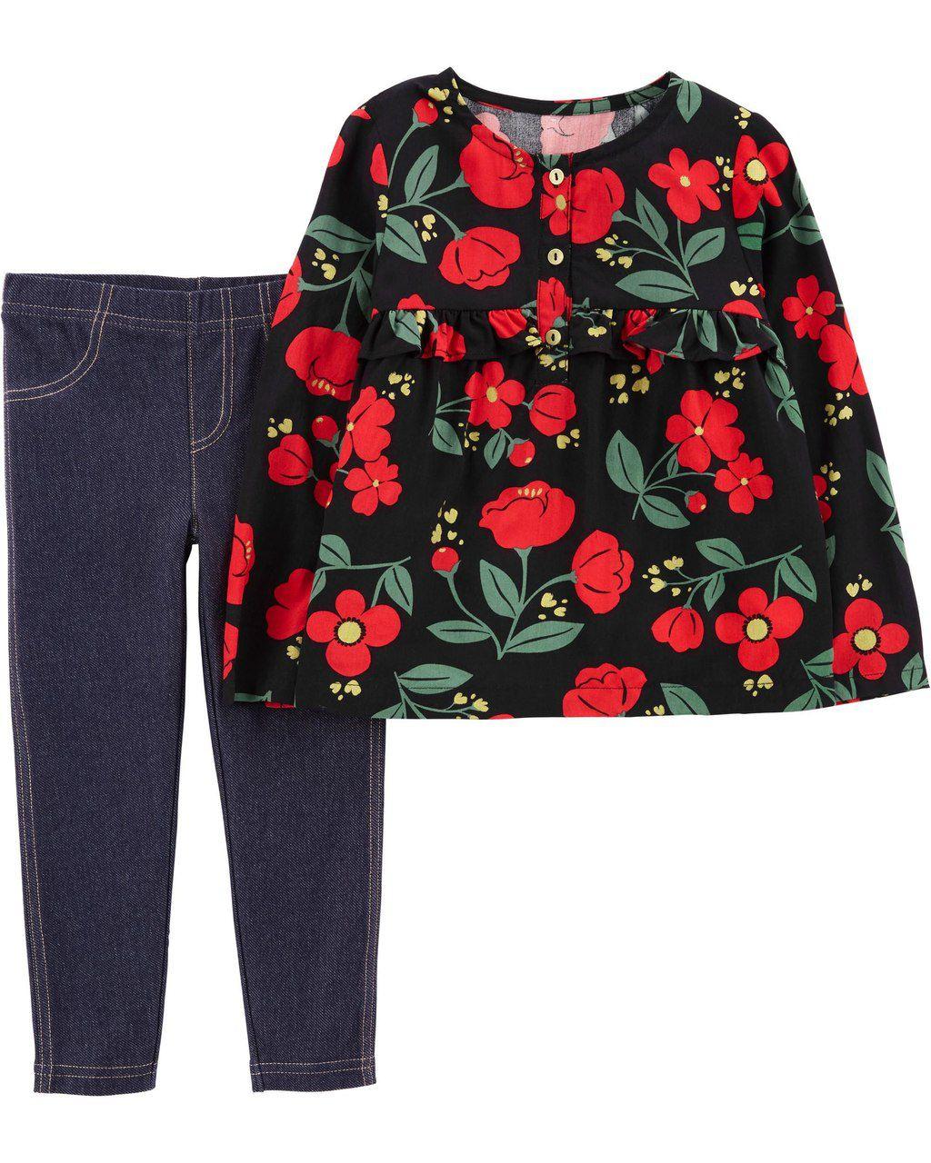 Conjunto Floral Vermelho Carter's