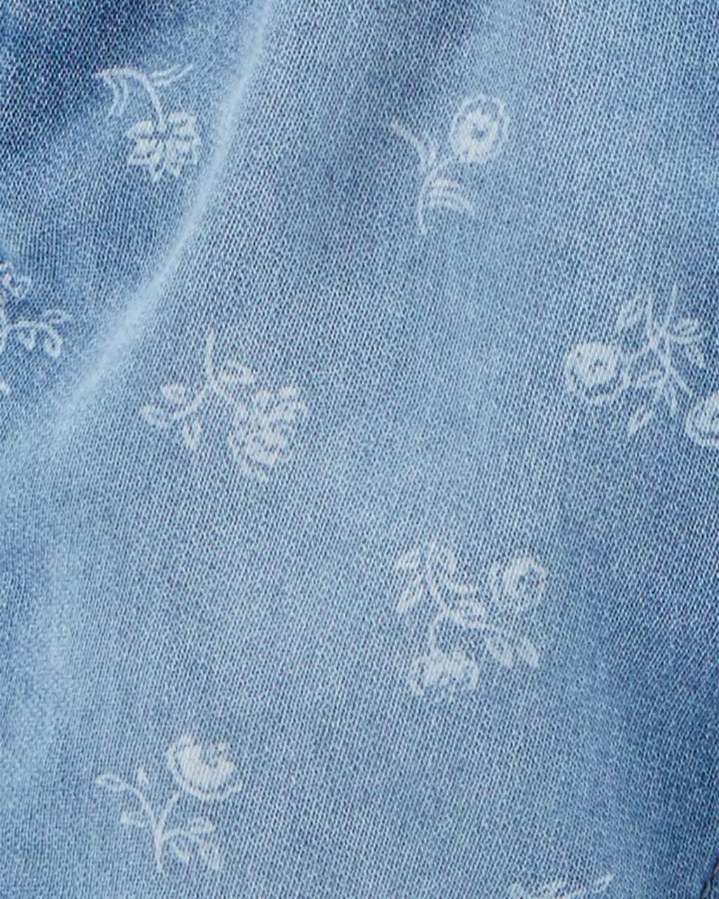 Jardineira Jeans OshKosh Floral Knit