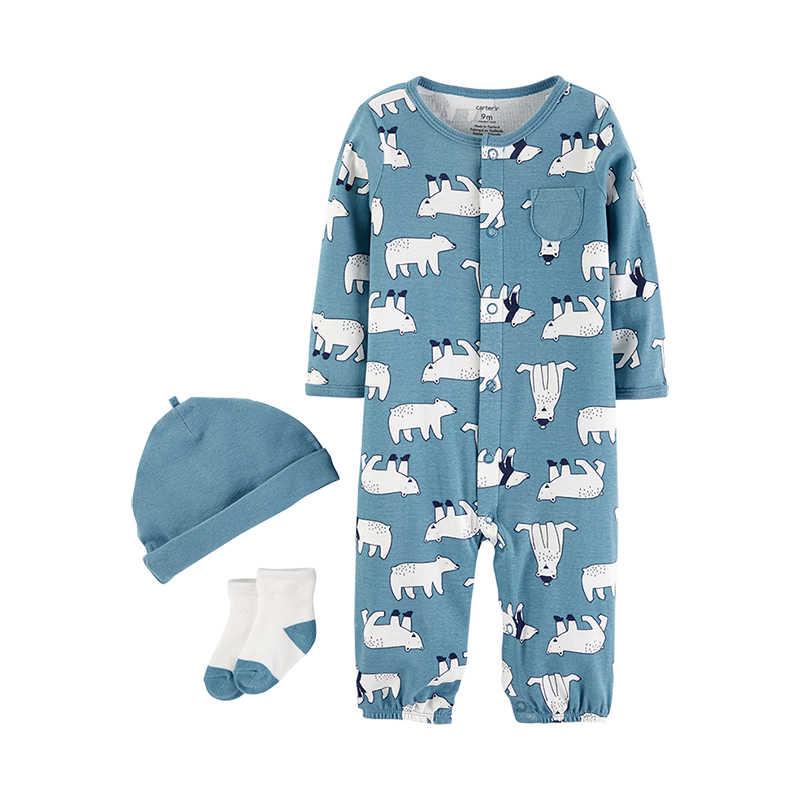 Kit Macacão Carters BabySoft Azul Ursos