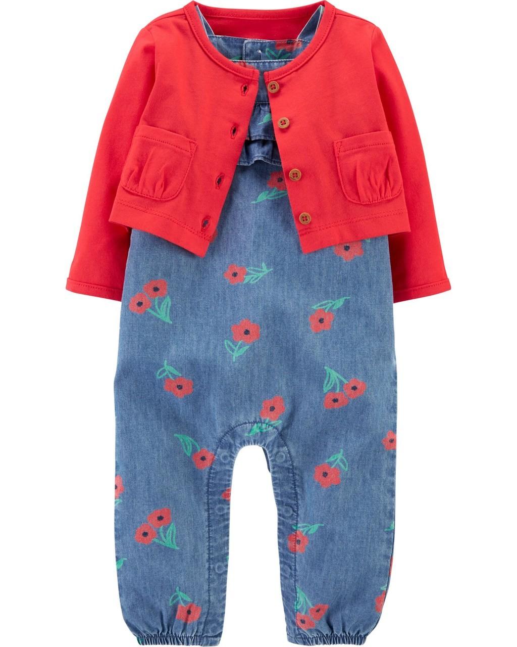 Macacão Carters flores com Cardigan Vermelho