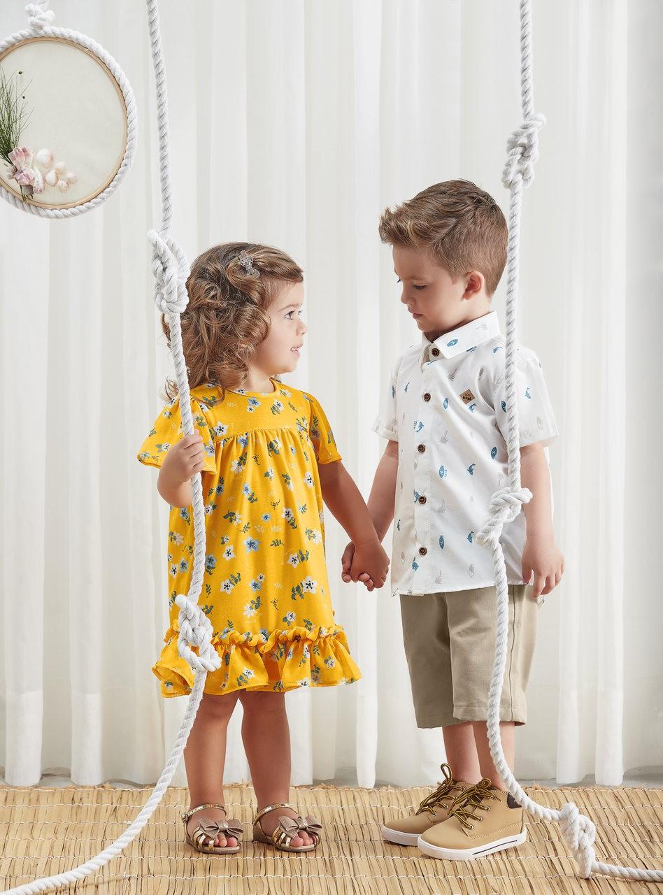 Vestido Amarelo Floral Nini & Bambini