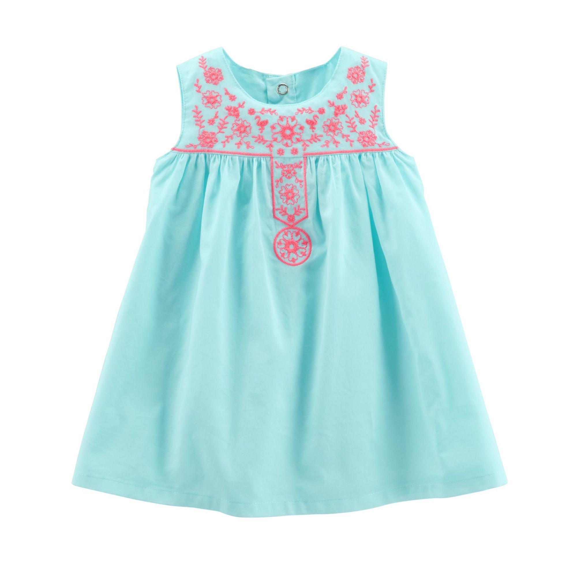 Vestido Carter's Azul com Bordado Rosa