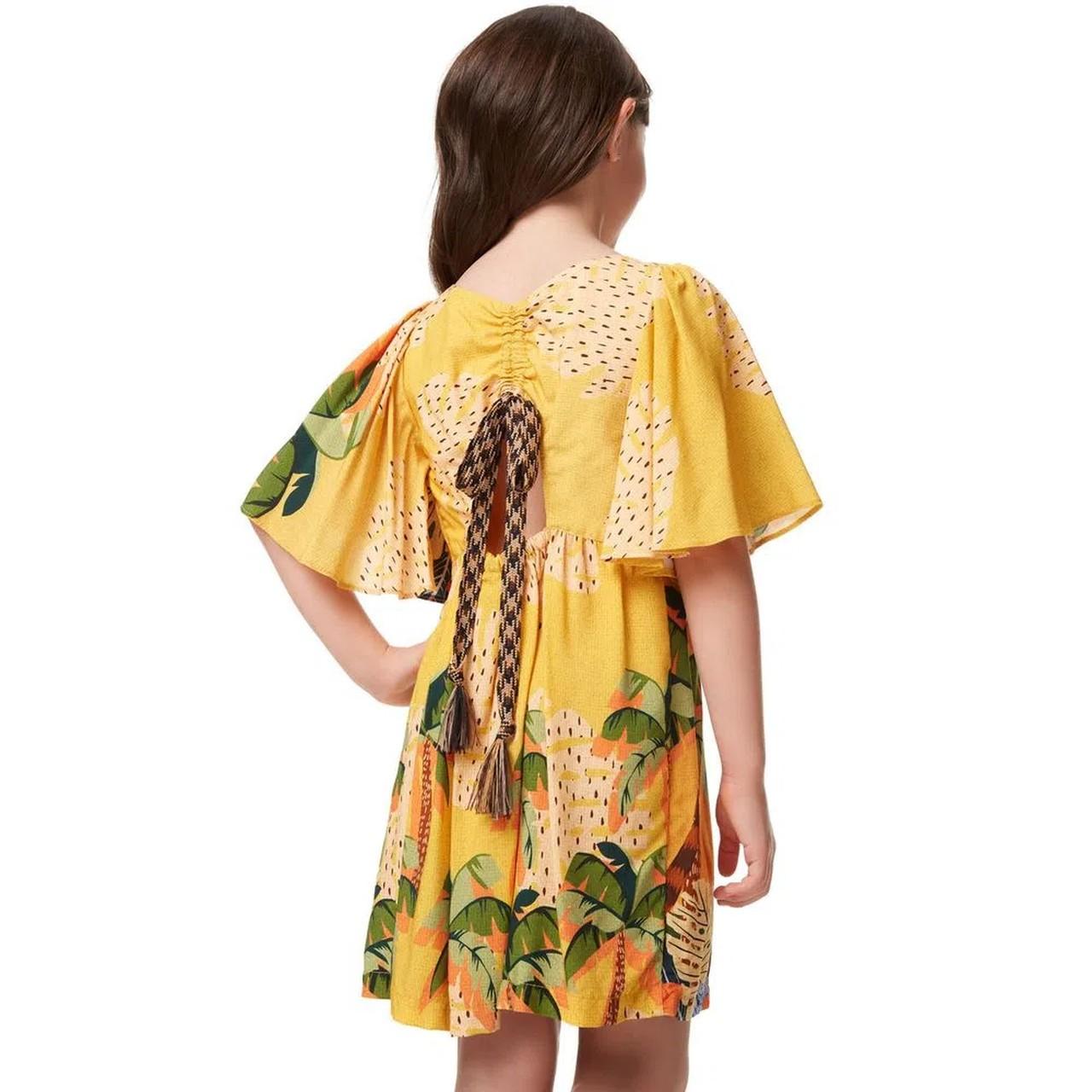 Vestido Curto Tucanos Amarelo Camu Camu