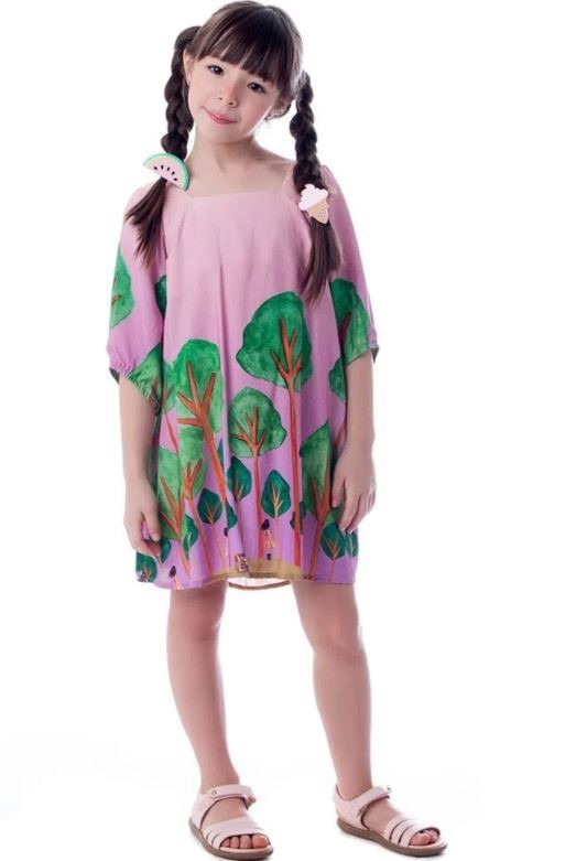 Vestido Floresta Lilas Camu Camu