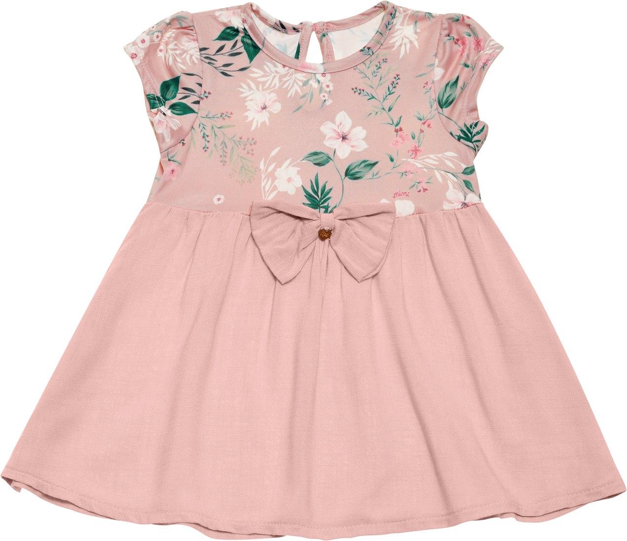 Vestido Rosa Flores e Folhas Nini & Bambini