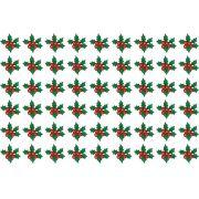 Decalque para Porcelana - Azevinhos de Natal Complementos 2cm