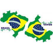 Decalque para Porcelana - Brasil Mapa 12cm