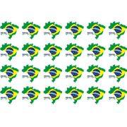 Decalque para Porcelana - Brasil Mapa 3cm