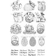 Decalque para Porcelana - Coelhos Canetados Preto