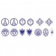 Decalque para Porcelana - Contorno Sacros 3,5cm Azul Marinho