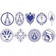 Decalque para Porcelana - Contorno Sacros 6cm Azul Marinho