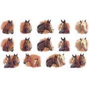 Decalque para Porcelana - Cabeças de Cavalo - 3,5cm