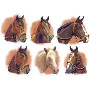 Decalque para Porcelana - Cabeças de Cavalo - 6,5cm
