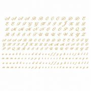 Decalque para Porcelana - Alfabeto Manuscrito em OURO