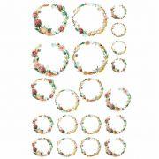 Decalque Para Porcelana - Floral Borda Iniciais - OUTRA TONALIDADE
