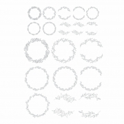 Decalque para Porcelana - Guirlanda Traços - Cinza