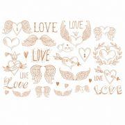 Decalque para Porcelana - Love -Asas- Anjo Lustre Bronze