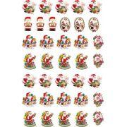 Decalque para Porcelana - Papai Noel e Fofinhos 3,5cm