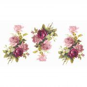 Decalque para Porcelana  - Rosa Buquê e Rosa Púrpura 10,5cm