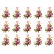 Decalque para Porcelana - Rosa Buquê e Rosa Púrpura 5cm