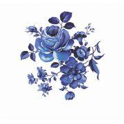 Decalque para Porcelana - Rosas Azuis 3cm