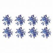 Decalque para Porcelana - Rosas Azuis 4,5cm