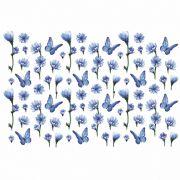 Decalque para Porcelana - Tapete Margaridas Azuis