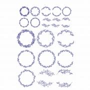 Decalque para Porcelana - Guirlanda Traços - Azul Marinho