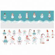 Decalque para Porcelana - Faixa Natal - Bonecos de Neve