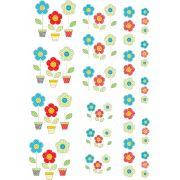 Decalque para Porcelana - Flores Patchwork
