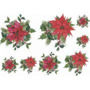 Decalque para Porcelana - Natal Ramo Floral