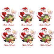 Decalque para Porcelana - Papai Noel com Anjinhos 8cm