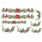 Decalque para Porcelana - Passarinhos de Natal