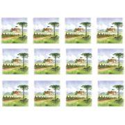 Decalque para Porcelana -Pinheiro Paisagem Casa 4,5 cm