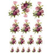 Decalque para Porcelana - Rosa Buque e Rosa Púrpura