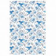 Decalque para Porcelana - Tapete Beija Flor Azul