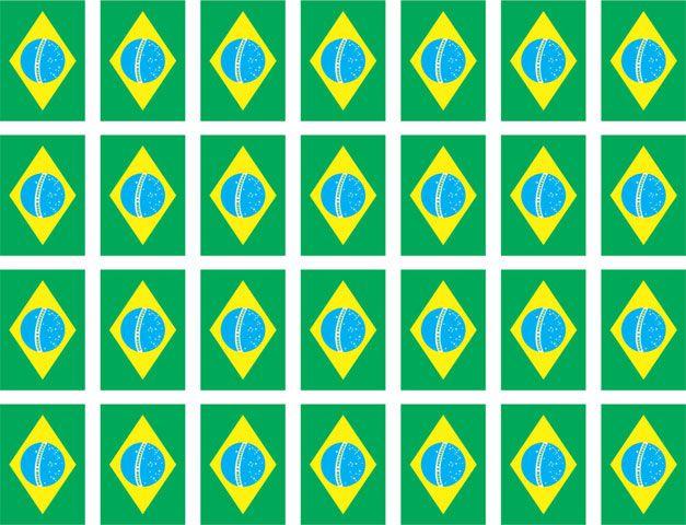 Decalque para Porcelana - Bandeira do Brasil 3,5 cm