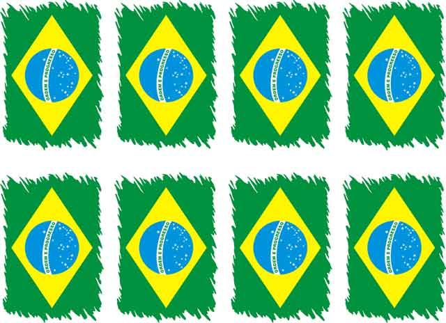 Decalque para Porcelana - Bandeira do Brasil Estilizada