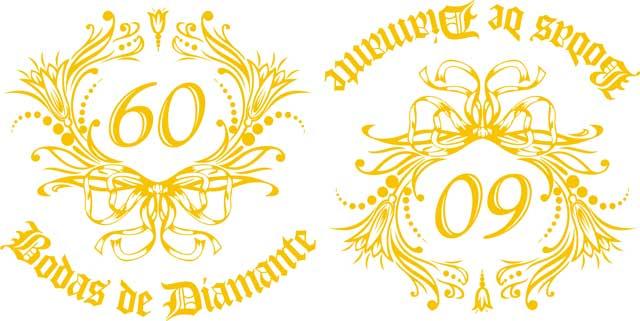 Decalque para Porcelana - Bodas de Diamante 10,5cm
