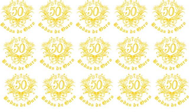 Decalque para Porcelana - Bodas de Ouro 4 cm