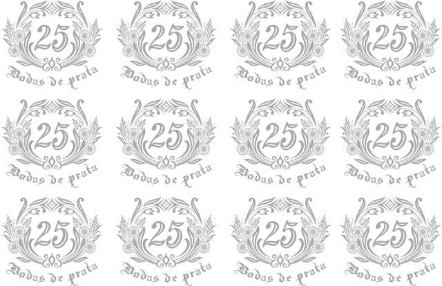 Decalque para Porcelana -Bodas de Prata 4cm
