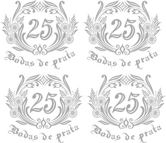 Decalque para Porcelana -Bodas de Prata Ref.2