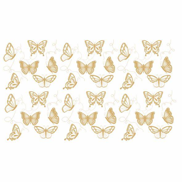Decalque para Porcelana - Borboletas em Ouro