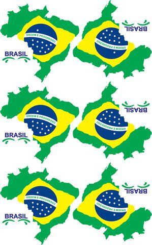 Decalque para Porcelana - Brasil Mapa 10,5 cm