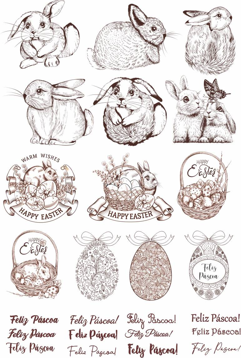 Decalque para Porcelana - Coelhos Canetados Marrom Café