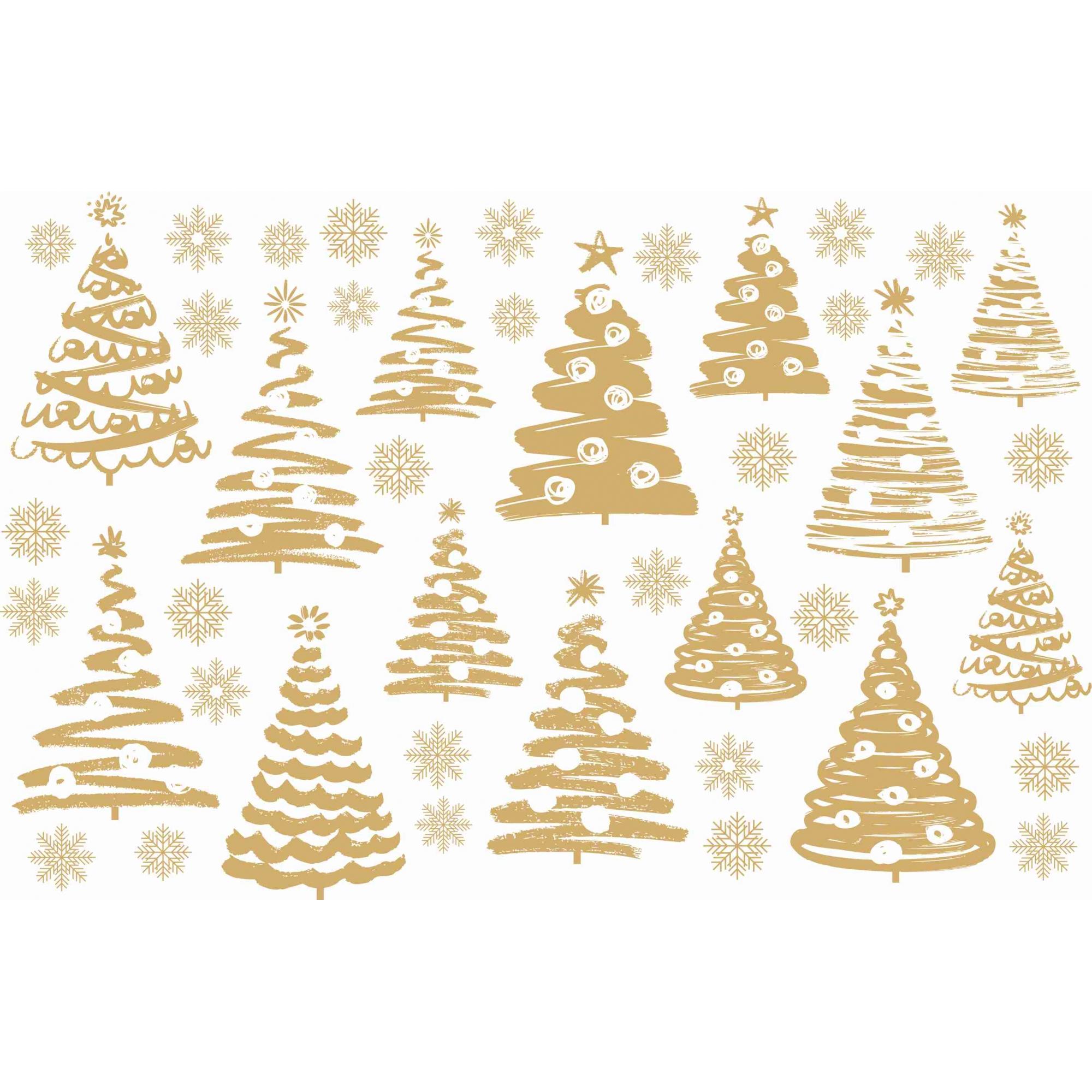 Decalque para Porcelana - Natal Árvores Mista OURO