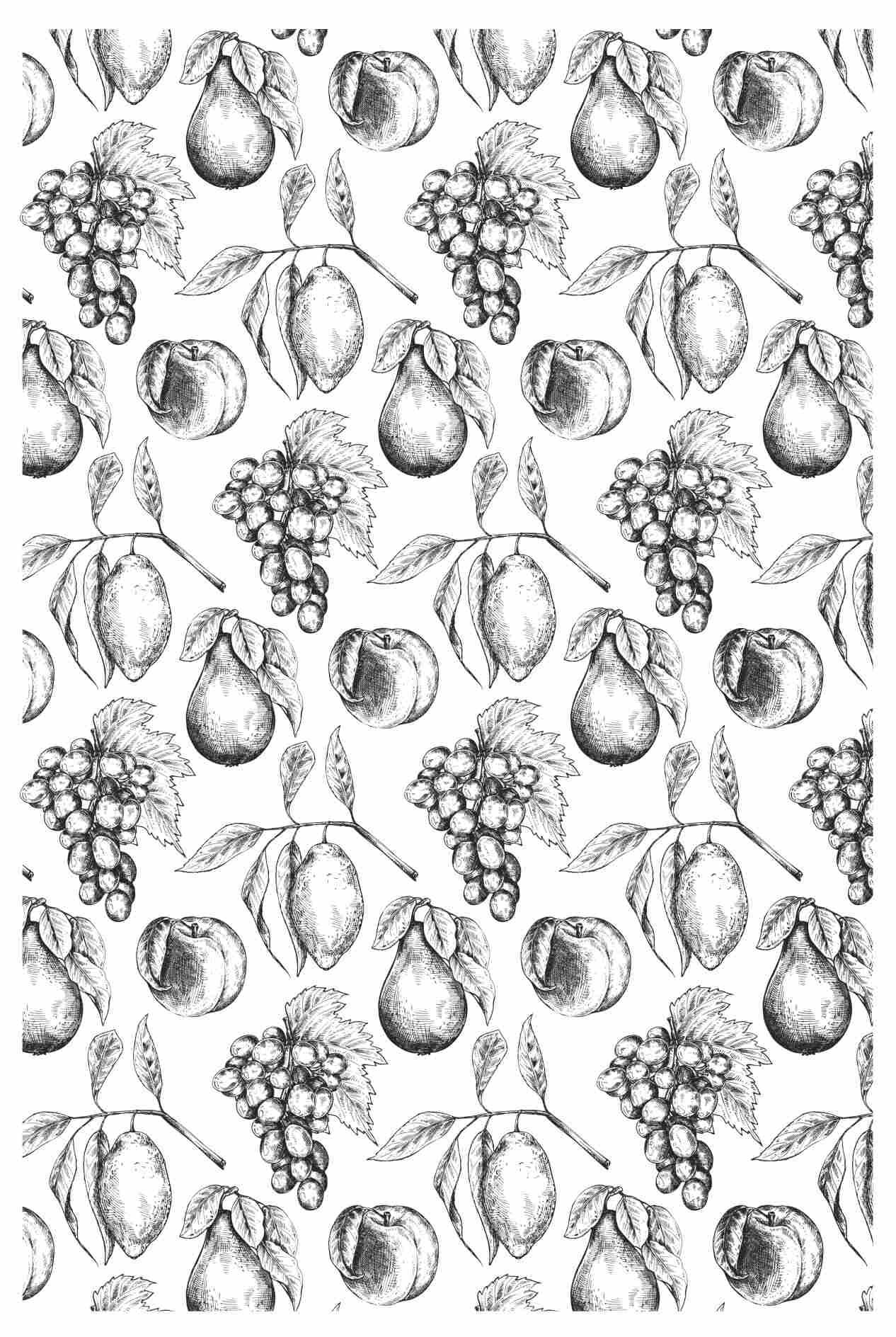 Decalque para Porcelana - Tapete Frutas P e B